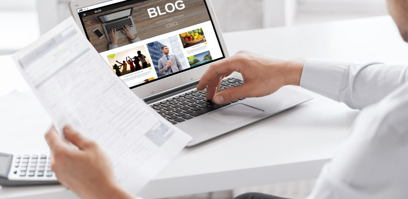 Blog writing, professional working at workplace
